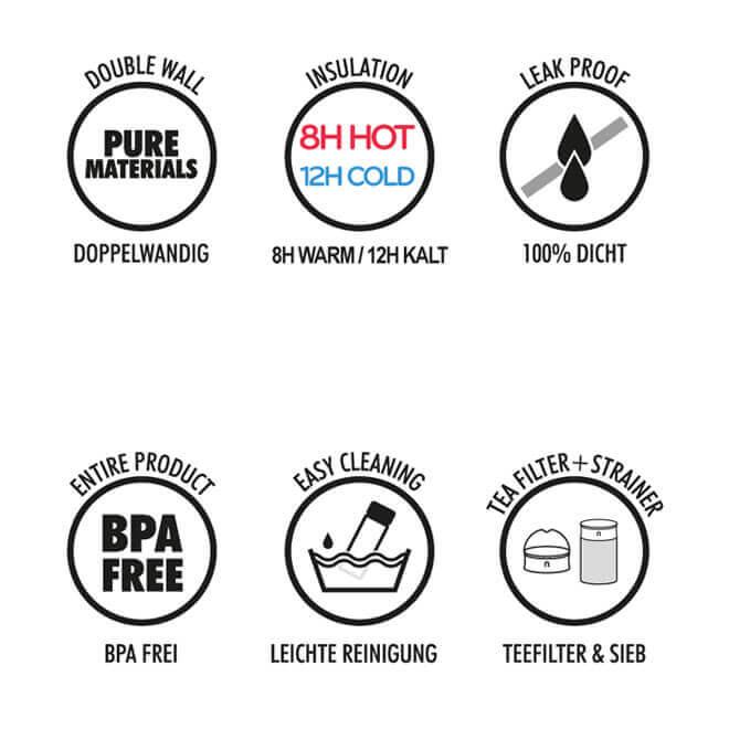 Kaffeebecher Vorteile, 600ml doppelwandig, dicht, bpa-frei, Tee Sieb, Teefilter, Deckel