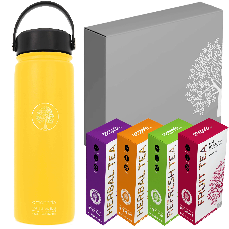 Botella de Agua amarillo set de regalo de té