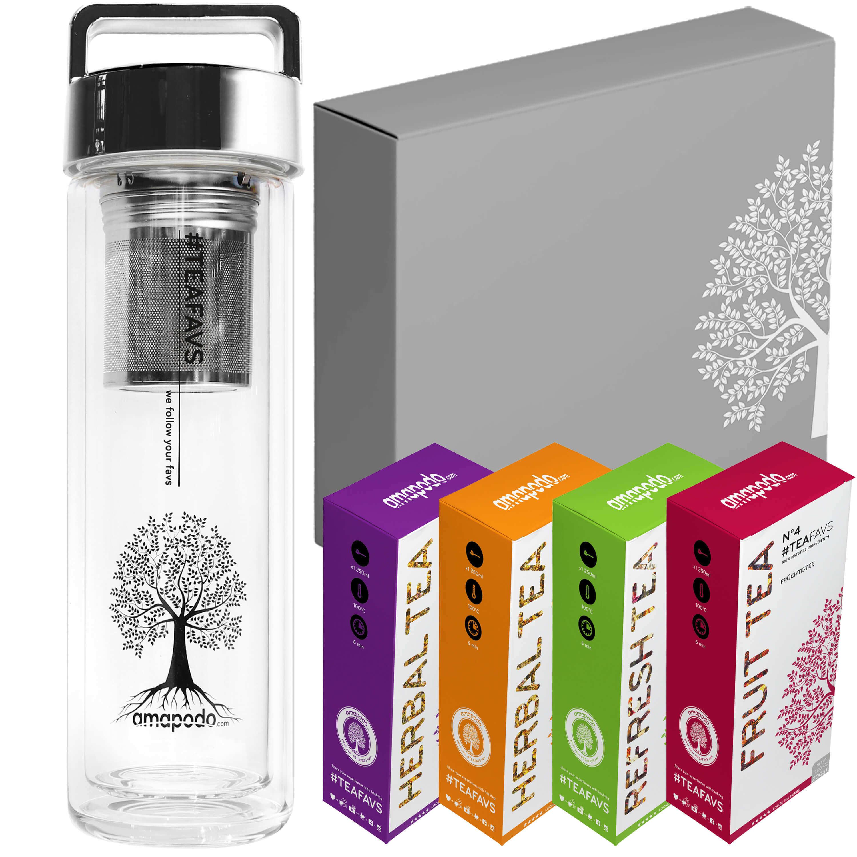 Thermo Bottle silber Tee-Geschenk-Set