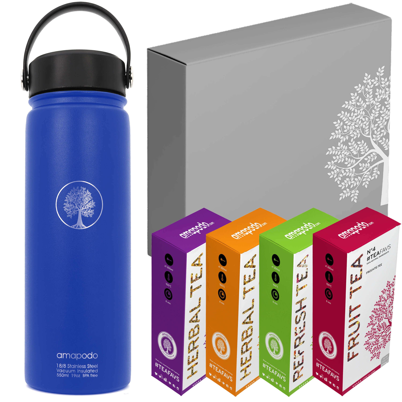 Trinkflasche blau Tee-Geschenk-Set