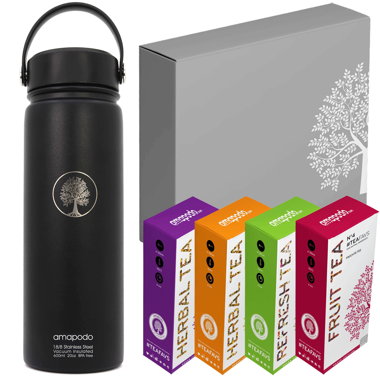 Trinkflasche schwarz Tee-Geschenk-Set